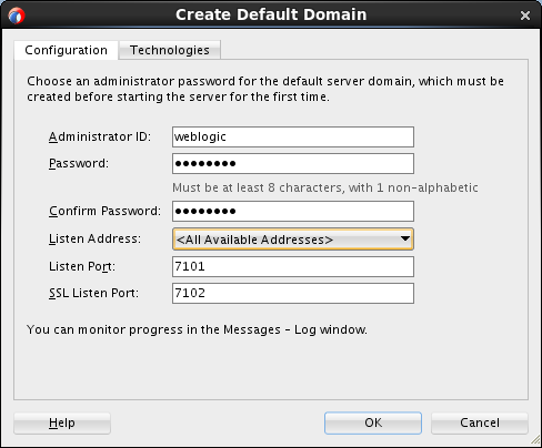 Create default domain